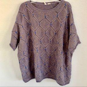 MOTH oversized s/s sweater tan/blue pattern size M